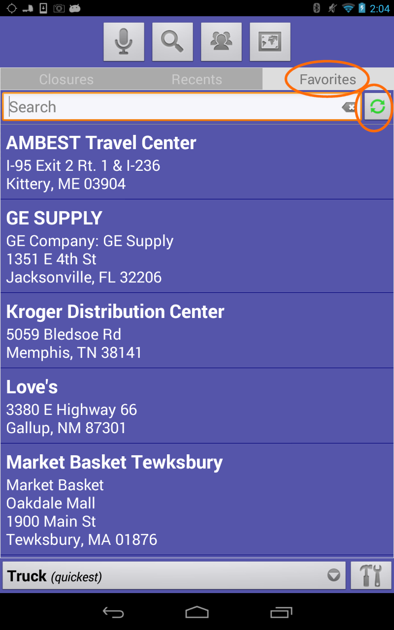 SmartTruckRoute Sync Favorites